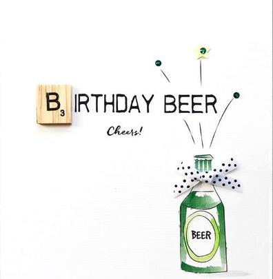 Birthday Beer Bexyboo Scrabbley Neon Birthday Card