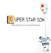 Son Birthday Bexyboo Scrabbley Neon Greeting Card