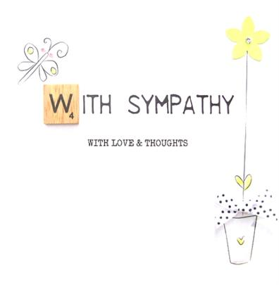 With Sympathy Bexyboo Scrabbley Neon Greeting Card
