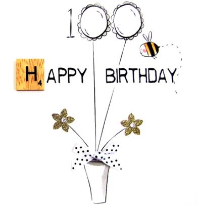 100th Birthday Bexyboo Scrabbley Neon Greeting Card