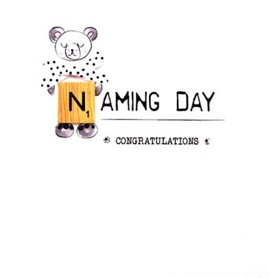 Naming Day Bexyboo Scrabbley Neon Greeting Card