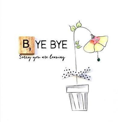 Bye Bye Leaving Bexyboo Scrabbley Neon Greeting Card