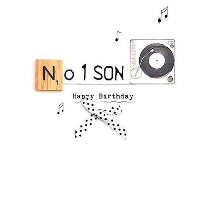 No. 1 Son Birthday Bexyboo Scrabbley Neon Greeting Card