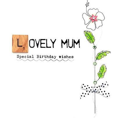 Lovely Mum Birthday Bexyboo Scrabbley Neon Greeting Card