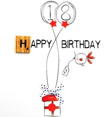 18th Birthday Bexyboo Scrabbley Neon Greeting Card