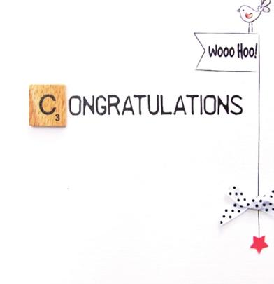 Congratulations Bexyboo Scrabbley Neon Greeting Card