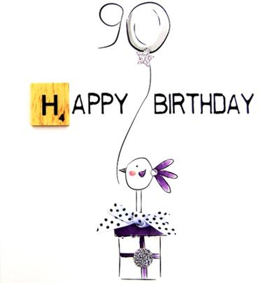90th Birthday Bexyboo Scrabbley Neon Greeting Card