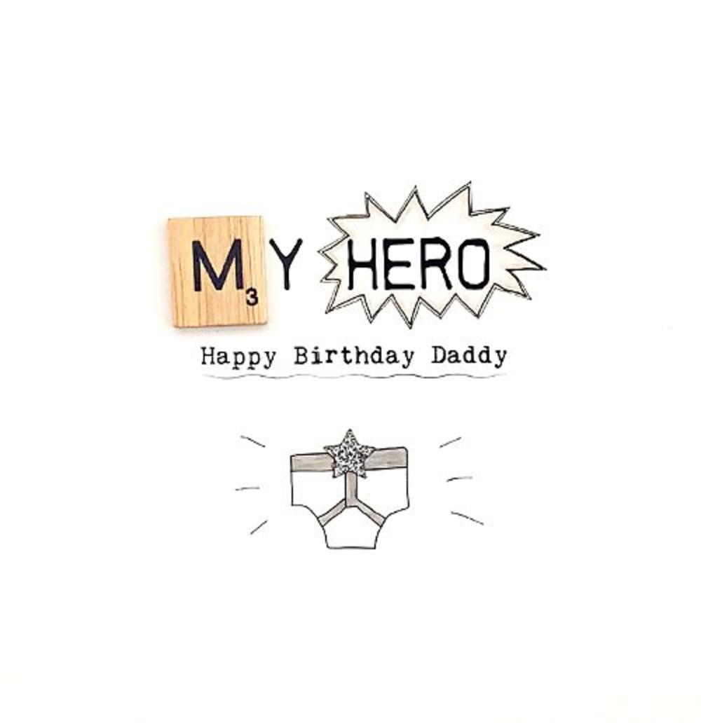 Hero Daddy Birthday Bexyboo Scrabbley Neon Greeting Card