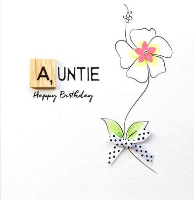 Auntie Birthday Bexyboo Scrabbley Neon Greeting Card