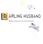 Darling Husband Birthday Bexyboo Scrabbley Neon Greeting Card
