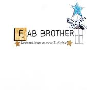 Fab Brother Birthday Bexyboo Scrabbley Neon Greeting Card