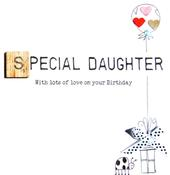 Daughter Birthday Bexyboo Scrabbley Neon Greeting Card