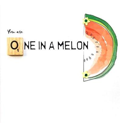 One In A Melon Bexyboo Scrabbley Neon Greeting Card