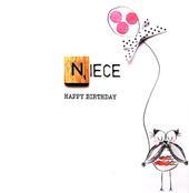 Niece Birthday Bexyboo Scrabbley Neon Greeting Card