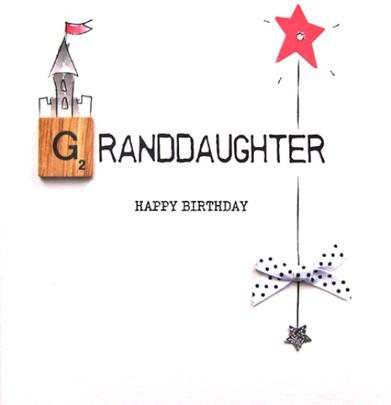 Granddaughter Birthday Bexyboo Scrabbley Neon Greeting Card