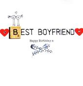 Best Boyfriend Birthday Bexyboo Scrabbley Neon Greeting Card