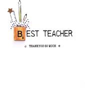 Teacher Thanks Bexyboo Scrabbley Neon Greeting Card