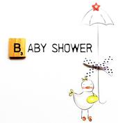 Baby Shower Bexyboo Scrabbley Neon Greeting Card