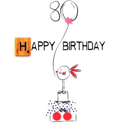 80th Birthday Bexyboo Scrabbley Neon Greeting Card