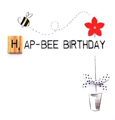 Hap-Bee Birthday Bexyboo Scrabbley Neon Greeting Card