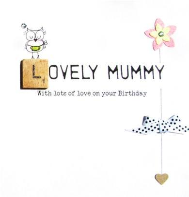 Lovely Mummy Birthday Bexyboo Scrabbley Neon Greeting Card