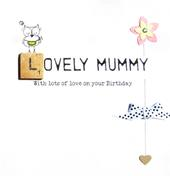 Lovely Mummy Birthday Bexyboo Scrabbley Neon Greeting Card