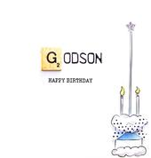 Godson Birthday Bexyboo Scrabbley Neon Greeting Card