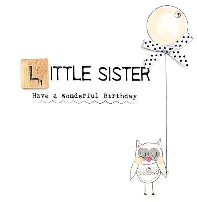 Little Sister Birthday Bexyboo Scrabbley Neon Greeting Card