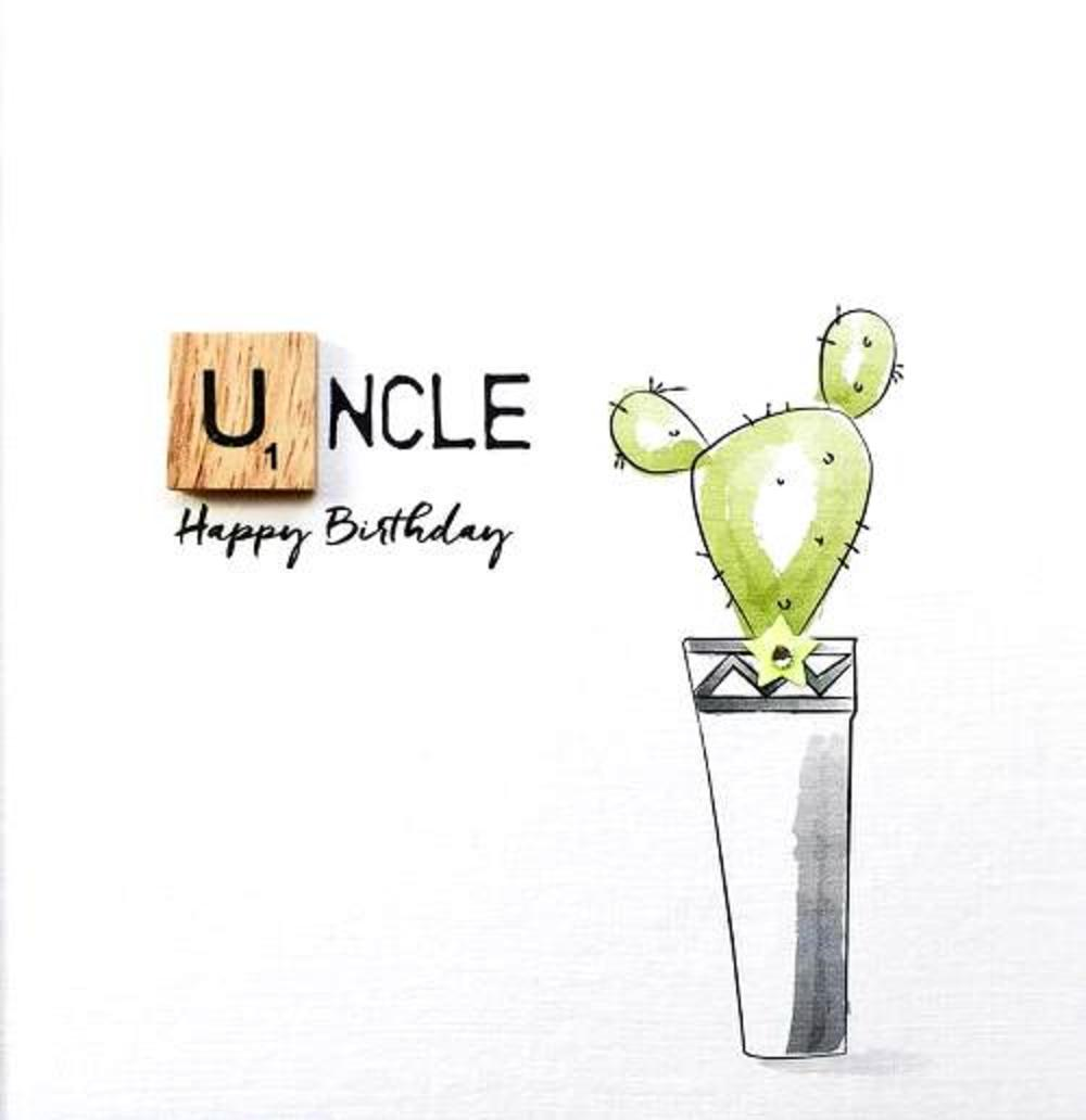 Uncle Birthday Bexyboo Scrabbley Neon Greeting Card