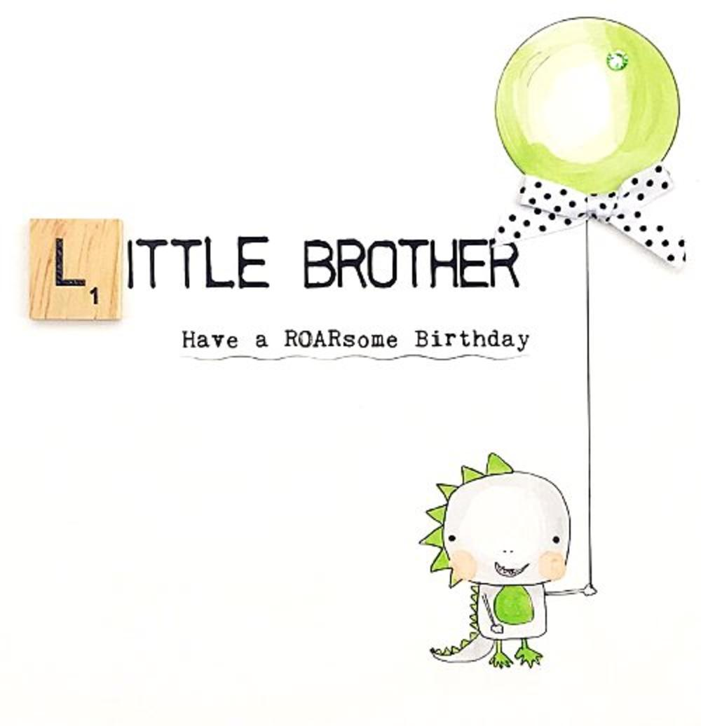 Little Brother Birthday Bexyboo Scrabbley Neon Greeting Card