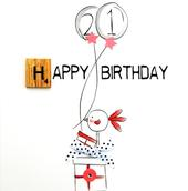 21st Birthday Bexyboo Scrabbley Neon Greeting Card