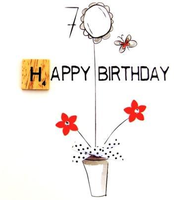70th Birthday Bexyboo Scrabbley Neon Greeting Card