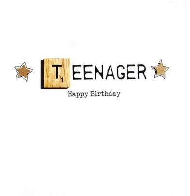 13th Teenager Birthday Bexyboo Scrabbley Neon Greeting Card