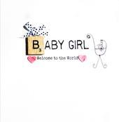 Baby Girl Bexyboo Scrabbley Neon Greeting Card