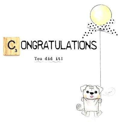 Congratulations Bexyboo Scrabbley Neon Greeting Card