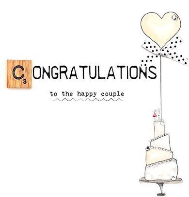 Congratulations Happy Couple Bexyboo Scrabbley Neon Greeting Card