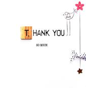 Thank You Bexyboo Scrabbley Neon Greeting Card
