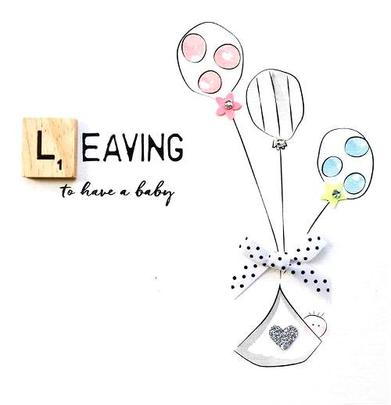 Leaving To Have A Baby Bexyboo Scrabbley Neon Greeting Card