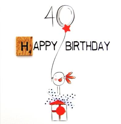 40th Birthday Bexyboo Scrabbley Neon Greeting Card