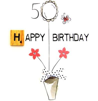 50th Birthday Bexyboo Scrabbley Neon Greeting Card