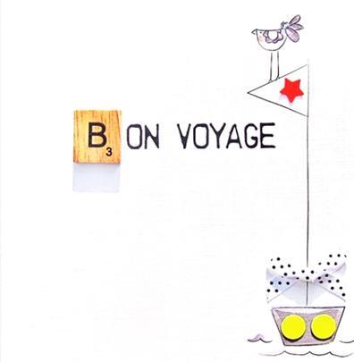 Bon Voyage Bexyboo Scrabbley Neon Greeting Card