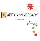 Happy Anniversary Bexyboo Scrabbley Neon Greeting Card