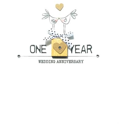 Happy 1st Anniversary Bexyboo Scrabbley Neon Greeting Card