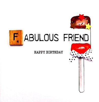 Fab Friend Birthday Bexyboo Scrabbley Neon Greeting Card