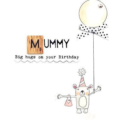 Mummy Hugs Birthday Bexyboo Scrabbley Neon Greeting Card