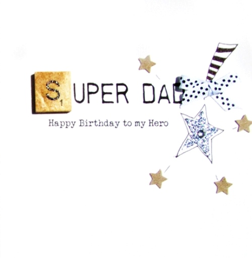 Super Dad Birthday Bexyboo Scrabbley Neon Greeting Card Cards