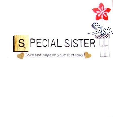 Sister Birthday Bexyboo Scrabbley Neon Greeting Card
