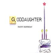 Goddaughter Birthday Bexyboo Scrabbley Neon Greeting Card