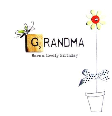 Grandma Birthday Bexyboo Scrabbley Neon Greeting Card