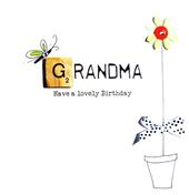 Grandma Birthday Bexyboo Scrabbley Neon Greeting Card